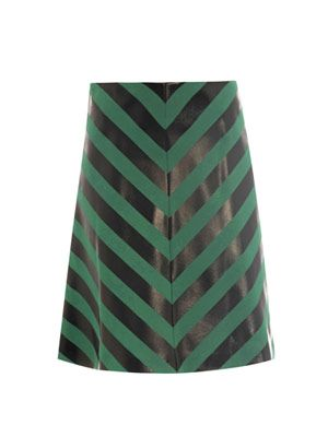 Heather foil-stripe A-line skirt