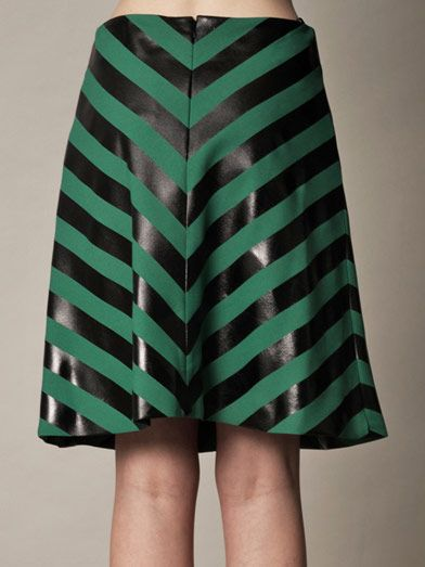 Jonathan Saunders Heather foil-stripe A-line skirt
