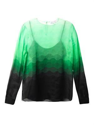Curzon ombré wave-print blouse