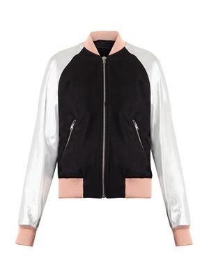 Eden leather-sleeve bomber jacket