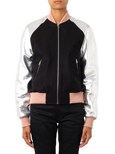Jonathan Saunders Eden leather-sleeve bomber jacket