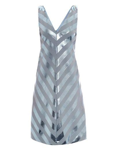 Jonathan Saunders Nicola foil stripe bias dress