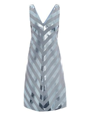 Nicola foil stripe bias dress