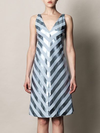 Jonathan Saunders Nicola foil stripe bias dress