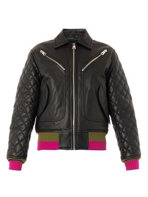 Marley quilted leather bomber jacket