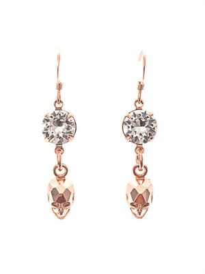 Crystal and skull drop earrings