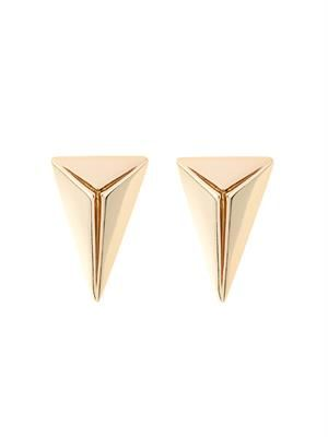Gold-plated pyramid stud earrings