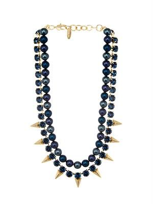 Faux-pearl, crystal and gold-plated necklace