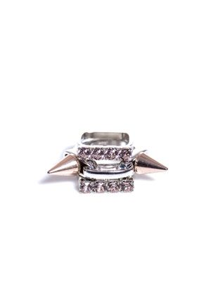 Crystal and spike stacked ring