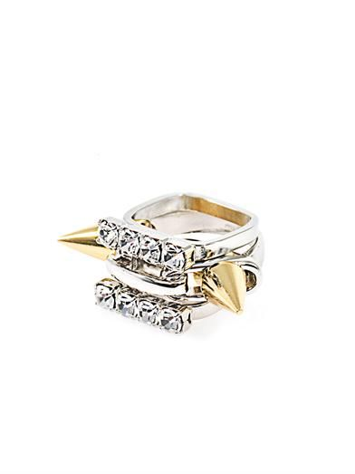 Joomi Lim 3 stack spike and crystal ring