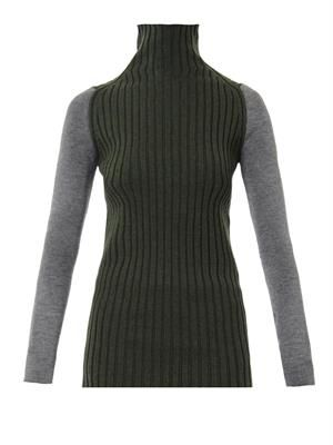 Colour-block merino-wool sweater
