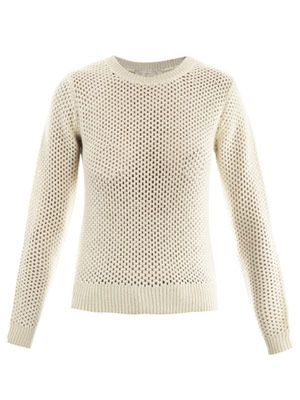 Open-weave alpaca sweater