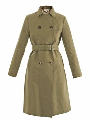 Technical raw edge trench coat