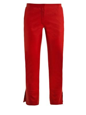 Ankle split leather trousers