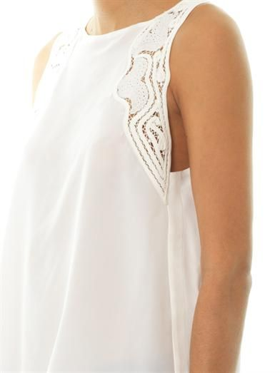 Vanessa Bruno Lace-insert silk sleeveless blouse