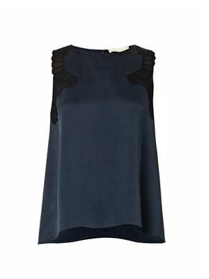 Barletta lace-trimmed satin blouse
