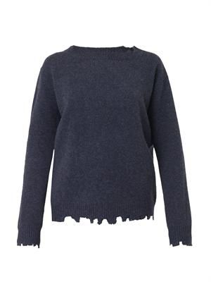 Bouquet distressed wool-knit sweater