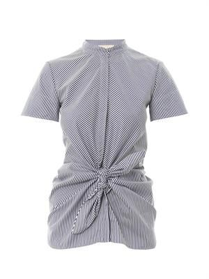Striped tie-front cotton-poplin top
