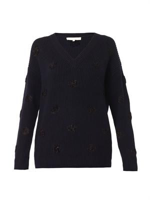 Textured polka-dot navy wool sweater