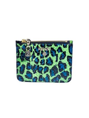 Leopard and tiger-print contrast pouch