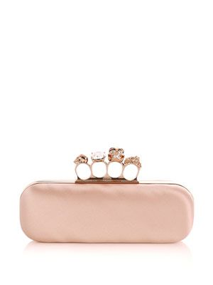 Satin knuckleduster clutch bag