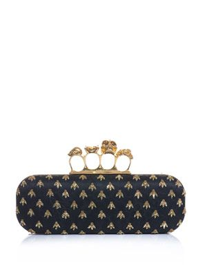 Embroidered bee clutch