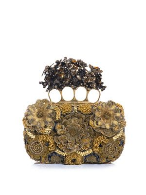 Flower appliqué knuckleduster clutch