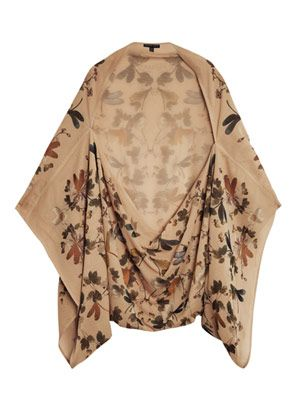 Floral and dragonfly print chiffon cape