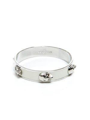 White and silver skull bangle
