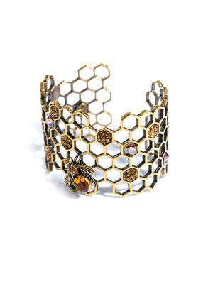 Honeycomb-bee topaz cuff