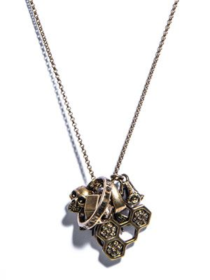 Skull and honeycomb charm necklace