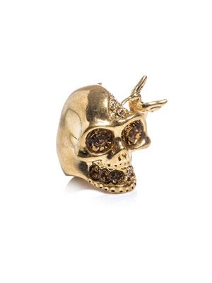 Bird and skull ring