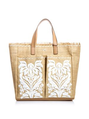 Nevis embroidered straw bag