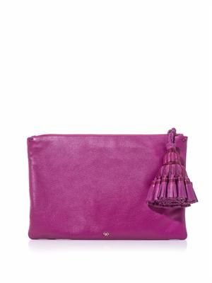 Georgiana tassel leather clutch