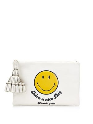 Georgiana smiley leather clutch