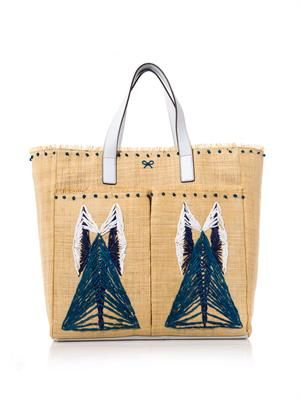 Nevis straw and leather tote