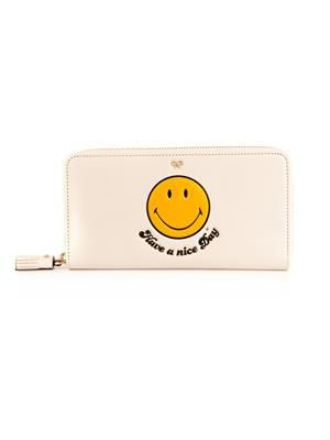 Smiley zip-around leather wallet