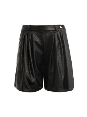 Herringbone textured leather-look shorts