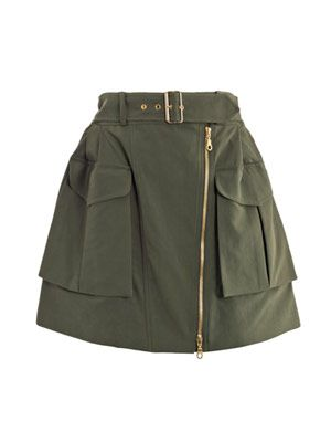 Peached twill military skirt
