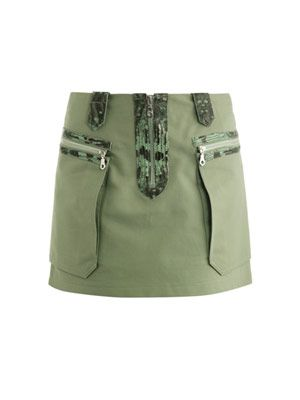 Snake-embossed leather trimmed skirt