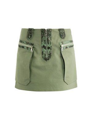 Snake-embossed leather trimmed skirt