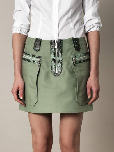 Kenzo Snake-embossed leather trimmed skirt
