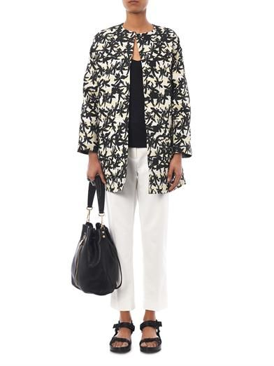 Kenzo Palm-jacquard cocoon coat