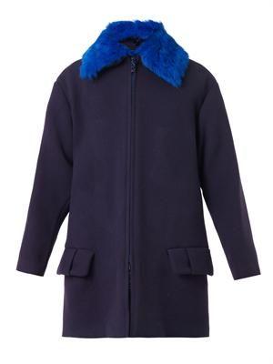 Contrast-collar textured wool-blend coat