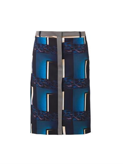 Kenzo Doors-print pencil skirt