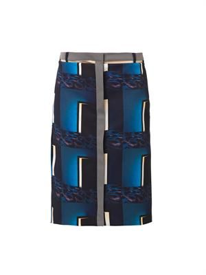 Doors-print pencil skirt