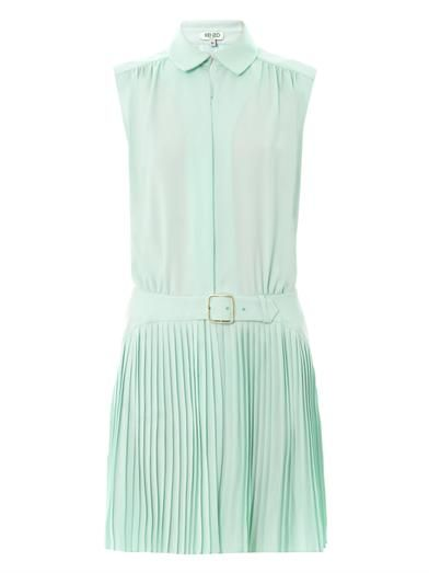 Kenzo Pleated-skirt sleeveless dress