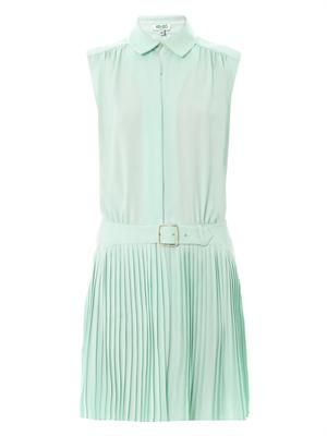 Pleated-skirt sleeveless dress