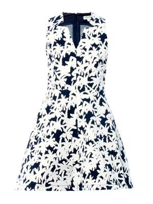 Palm-print denim A-line dress