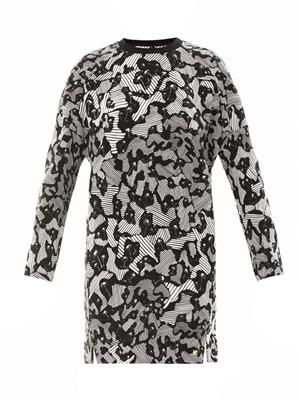 Camo palm-print sweatshirt dress